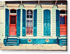 Acrylic Print featuring the photograph Turquoise Shutters by Sylvia Cook