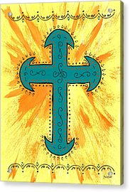 Acrylic Print featuring the painting Turquoise Southwestern Cross by Susie Weber