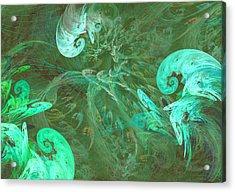 Turquoise Turbulance Acrylic Print by Minnie W Shuler