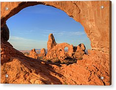 Acrylic Print featuring the photograph Turret Arch Through North Window by Alan Vance Ley