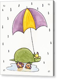 Turtle In The Rain Acrylic Print by Christy Beckwith
