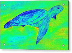 Turtle Life - Digital Ink Stamp Green Acrylic Print by Brett Smith