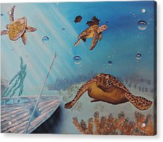 Turtles At Sea Acrylic Print
