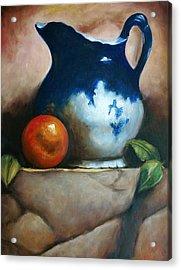 Tuscan Blue Pitcher Still Life Acrylic Print by Melinda Saminski