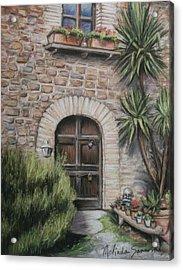 Tuscan Doorway La Parrina Acrylic Print by Melinda Saminski