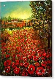 Tuscan Poppies Acrylic Print by Lou Ann Bagnall