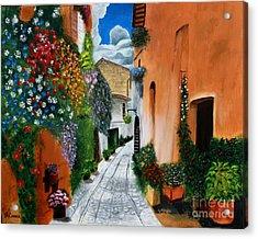Tuscan Street Scene Acrylic Print by Bev Conover