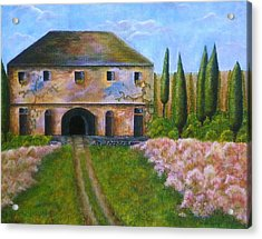 Acrylic Print featuring the painting Tuscan Villa by Tamyra Crossley