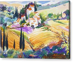 Tuscan Villas And Fields Acrylic Print by Therese Fowler-Bailey