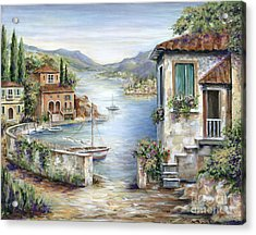 Tuscan Villas By The Lake Acrylic Print by Marilyn Dunlap