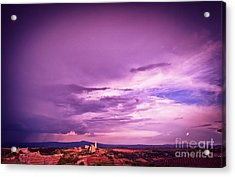 Tuscania Village With Approaching Storm  Italy Acrylic Print by Silvia Ganora
