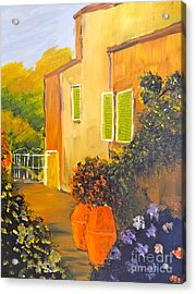 Acrylic Print featuring the painting Tuscany Courtyard by Pamela  Meredith