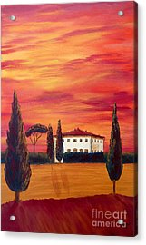 Tuscany In Red Acrylic Print by Christine Huwer