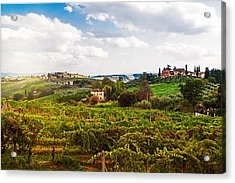 Tuscany Italy Vineyard And Countryside Acrylic Print by Susan Schmitz