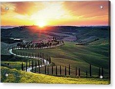 Tuscany Landscape At Sunset Acrylic Print by Borchee