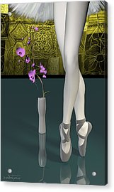 Tutu To Toe Shoes - Green Acrylic Print by Andre Price