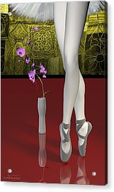 Tutu To Toe Shoes - Red Acrylic Print by Andre Price