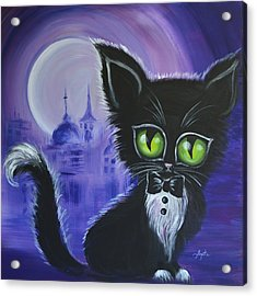 Acrylic Print featuring the painting Tuxedo Cat by Agata Lindquist