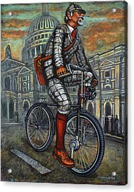 Acrylic Print featuring the painting Tweed Run In Grey Passing St Pauls London  by Mark Howard Jones