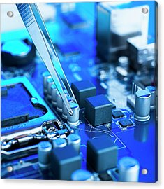 Tweezers And Computer Components Acrylic Print by Science Photo Library