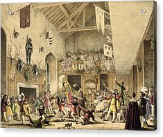 Twelfth Night Revels In The Great Hall Acrylic Print by Joseph Nash