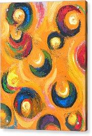 Twelve Black Crescents In The Orange Sky Acrylic Print by Kazuya Akimoto