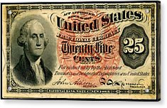Twenty Five Cent 4th Issue U.s. Fractional Currency Fr 1302 Acrylic Print by Lanjee Chee