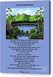 Twenty-third Psalm With Twin Ponds Blue Acrylic Print by Barbara Griffin