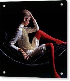 Twiggy Sitting On A Modern Chair Acrylic Print by Bert Stern