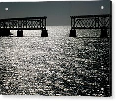 Twilgiht Railroad Acrylic Print by Karen Wiles