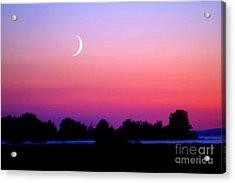 Twilight And Crescent Moon - Lummi Bay Acrylic Print by Douglas Taylor