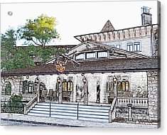 Twilight At El Tovar Historic Hotel Entrance In Grand Canyon Village Colored Pencil Acrylic Print