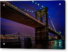 Twilight At The Brooklyn Bridge Acrylic Print