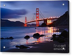 Twilight - Beautiful Sunset View Of The Golden Gate Bridge From Marshalls Beach. Acrylic Print