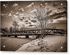 Twilight Bridge Over An Icy Pond - Bw Acrylic Print
