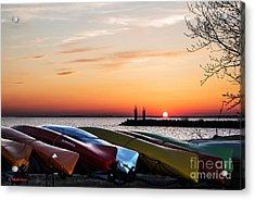 Twilight Kayaks Acrylic Print by Barbara McMahon