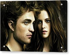 Acrylic Print featuring the painting Twilight  Kristen Stewart And Robert Pattinson Artwork 4 by Sheraz A