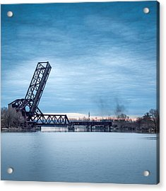 Twilight Locomotive Crossing Buffalo River Acrylic Print