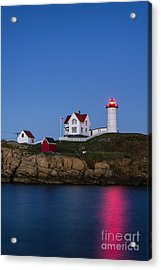 Twilight Nubble Lighthouse Acrylic Print by John Greim