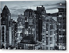 Acrylic Print featuring the photograph Twilight On Cityscape Of Vancouver Overlooking English Bay - Greeting Card by Amyn Nasser