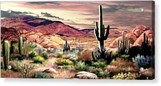 Twilight On The Desert  2 Acrylic Print by Ron Chambers