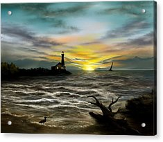Twilight On The Sea Acrylic Print by Ron Grafe
