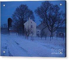 Twilight Snow On Bauman Road Acrylic Print by Anna Lisa Yoder
