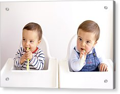 Twin Baby Boys Playing With Spoons Acrylic Print