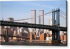 Twin Bridges Twin Towers - New York Acrylic Print