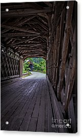 Twin Covered Bridges North Hartland Vermont Acrylic Print by Edward Fielding