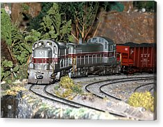 Twin Diesel Work Trains Acrylic Print by Hugh McClean