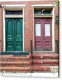 Twin Doors Acrylic Print by Sally Simon