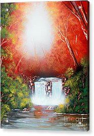 Acrylic Print featuring the painting Twin Falls  by Greg Moores