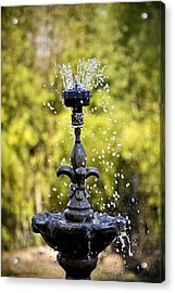 Twin Oaks Garden Fountain Acrylic Print
